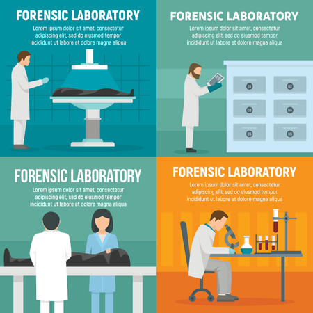 Forensic laboratory banner set, flat style Vettoriali