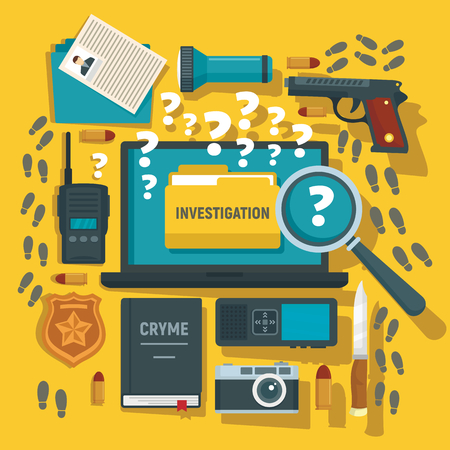 Crime investigation concept background, flat style 向量圖像