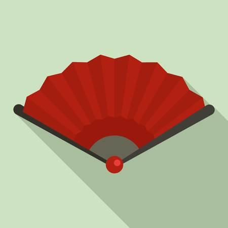 China hand fan icon, flat style