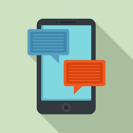 Smartphone learning chat icon. Flat illustration of smartphone learning chat vector icon for web design