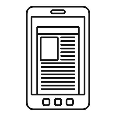 Smartphone newspaper icon, outline style Illustration