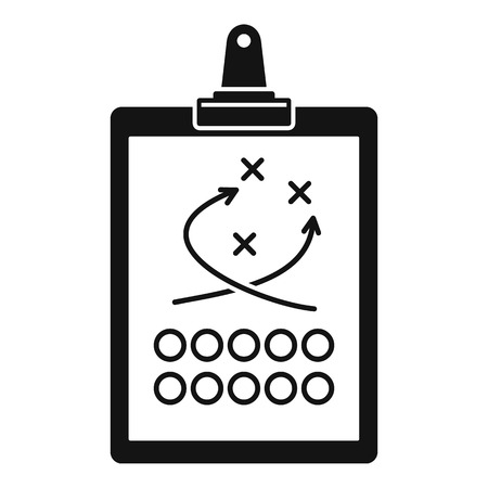 American football tactical clipboard icon. Simple illustration of american football tactical clipboard vector icon for web design isolated on white background