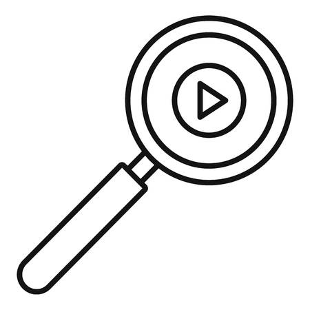 Play magnify glass icon, outline style