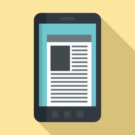 Smartphone newspaper icon, flat style