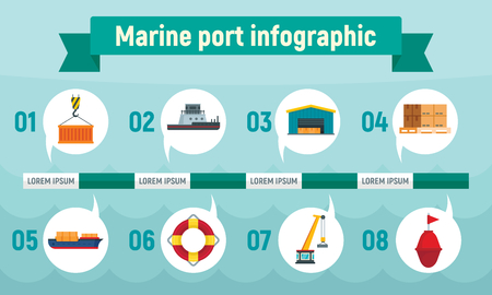 Marine port infographic, flat style
