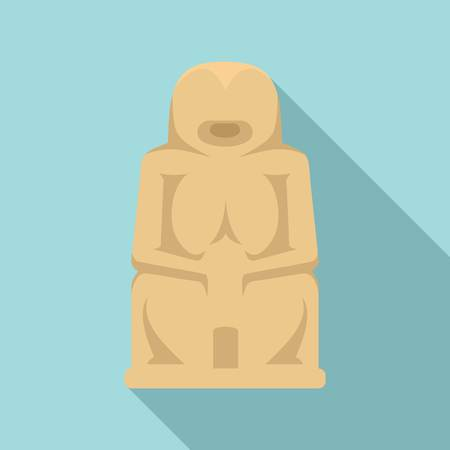 Stone age statue icon, flat style