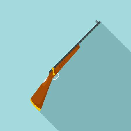 Old hunting rifle icon, flat style