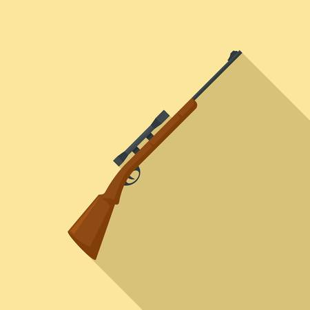 Hunting sniper rifle icon, flat style