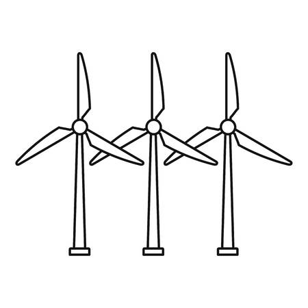 Icône d'éolienne de développement, style de contour