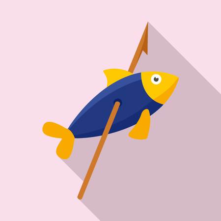 Stone age fish in arrow icon, flat style