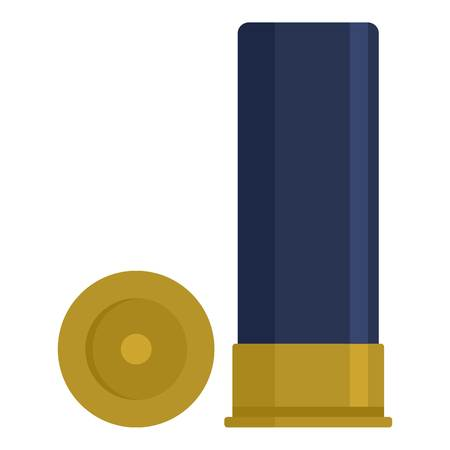 Shotgun cartridge shell icon, flat style Иллюстрация