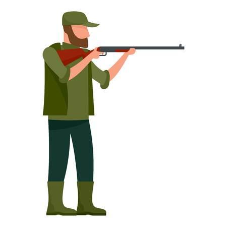Hunter man icon, flat style