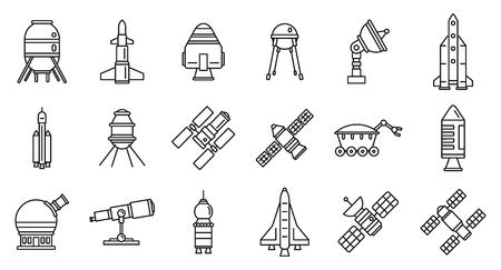 Ensemble d'icônes de technologie de recherche spatiale de la planète, style de contour