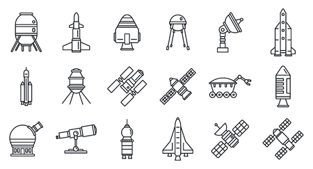 Planet space research technology icons set, outline style Vettoriali