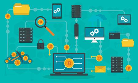 Banner de concepto de tecnología blockchain. Ilustración plana de banner de concepto de vector de tecnología blockchain para diseño web