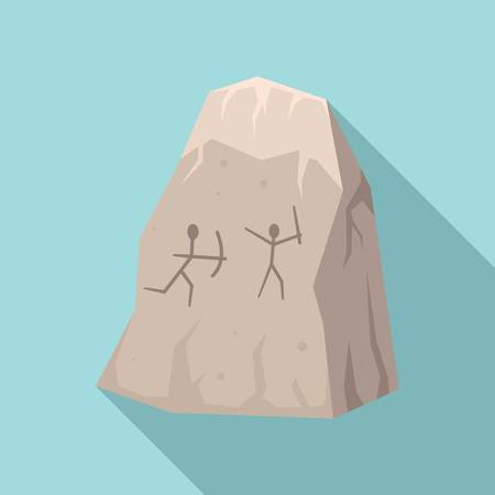 Stone age cave drawings icon. Flat illustration of stone age cave drawings vector icon for web design