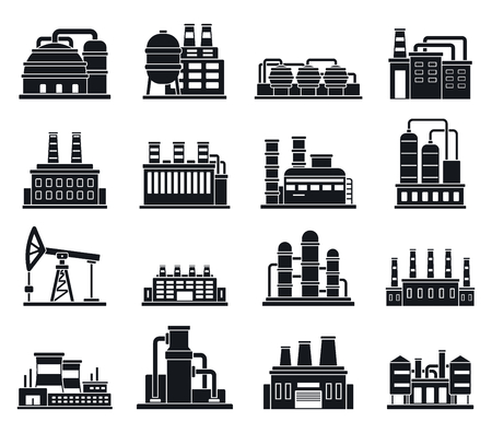 Refinery plant factory icons set, simple style