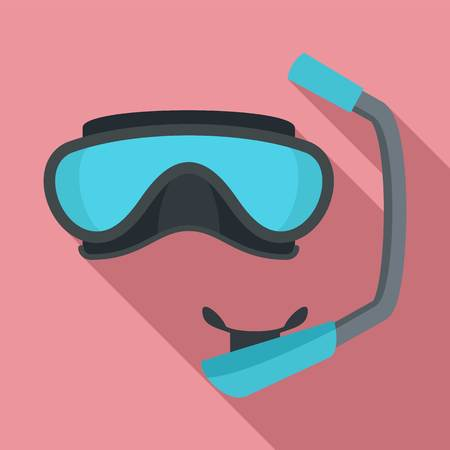 Diving mask icon. Flat illustration of diving mask vector icon for web design