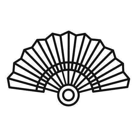 Paper hand fan icon, outline style