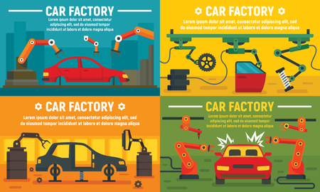 Industry car factory banner set. Flat illustration of industry car factory vector banner set for web design