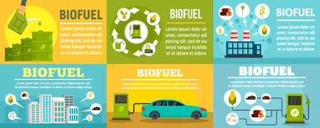 Bio fuel station banner set. Flat illustration of bio fuel station vector banner set for web design
