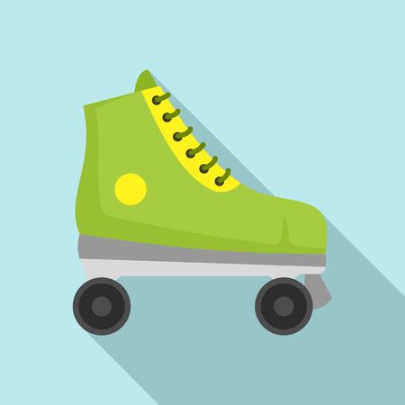 Green roller skates icon. Flat illustration of green roller skates vector icon for web design Illustration