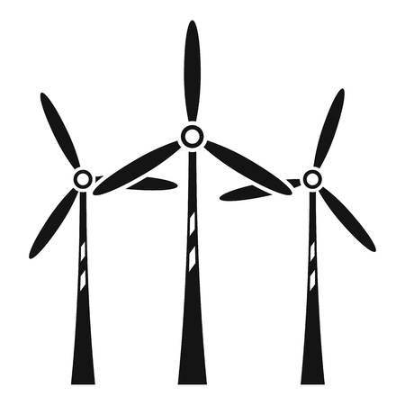 Wind turbine farm icon, simple style Ilustrace