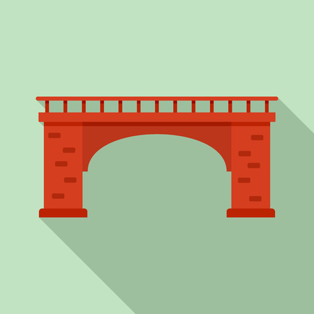 Brick bridge icon, flat style