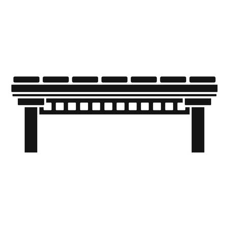 Wood river bridge icon, simple style