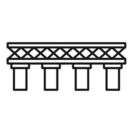 Old railroad bridge icon. Outline old railroad bridge vector icon for web design isolated on white background Vecteurs