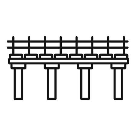 River bridge icon, outline style
