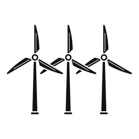 Icono de planta de energía eólica. Ilustración simple de la planta de energía eólica icono vectoriales para diseño web aislado sobre fondo blanco.