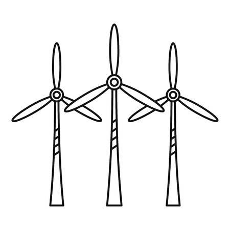 Wind turbine station icon, outline style  イラスト・ベクター素材