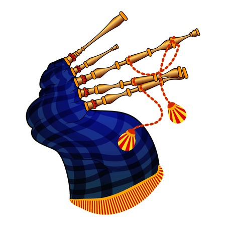Bagpipes icon, cartoon style