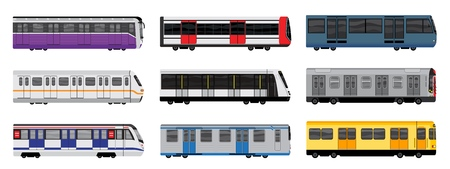 Subway train icons set, cartoon style