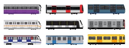Zestaw ikon pociągu metra, stylu cartoon Ilustracje wektorowe