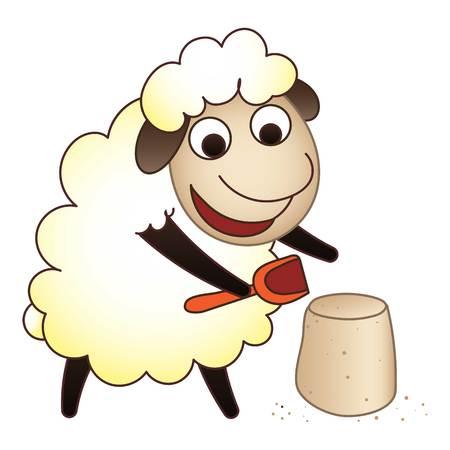 Sheep play icon, cartoon style