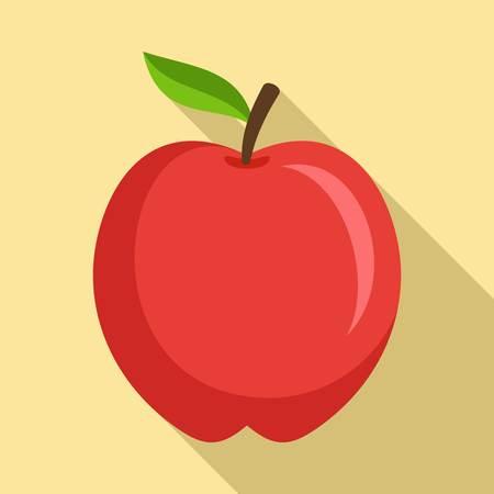 Icono de manzana roja, estilo plano Ilustración de vector