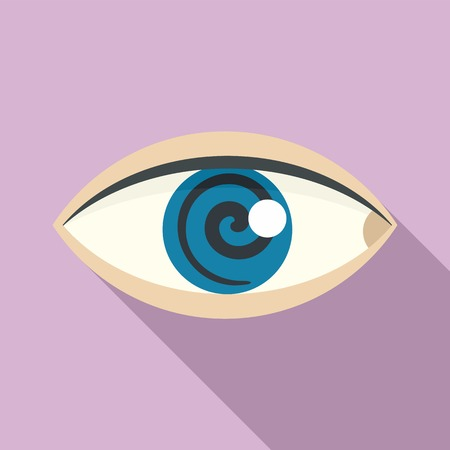 Magic eye hypnosis icon, flat style