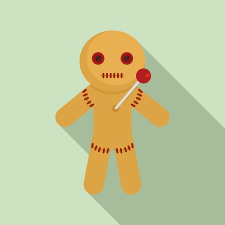 Textile magic doll icon. Flat illustration of textile magic doll vector icon for web design