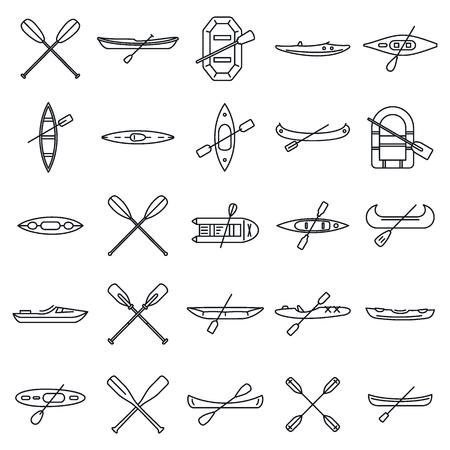 Extreme canoeing icons set, outline style