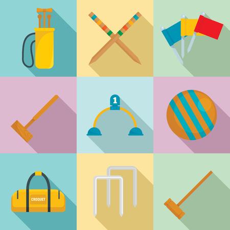 3d47de25 Croquet icons set. Flat set of croquet vector icons for web design  Illustration