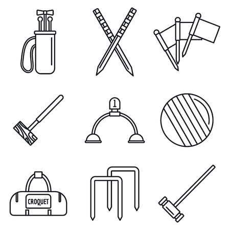 Croquet equipment icons set, outline style