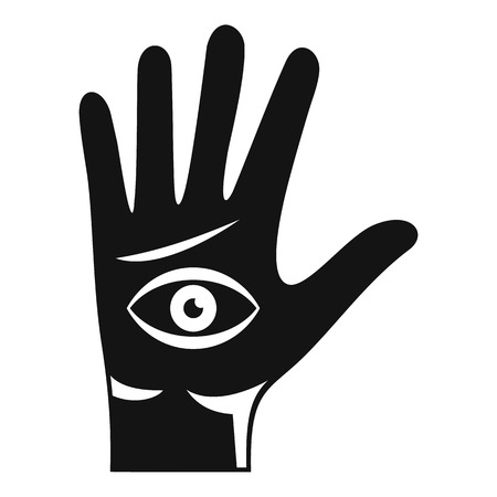 Eye hand icon, simple style