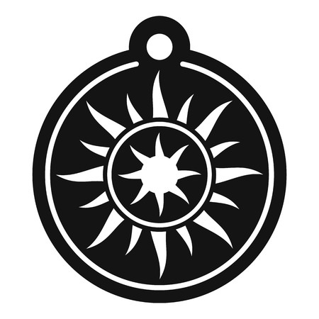 Magic sun medallion icon, simple style  イラスト・ベクター素材