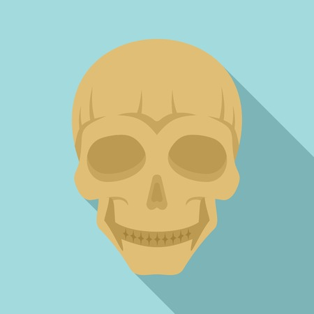 Smiling skull head icon. Flat illustration of smiling skull head vector icon for web design