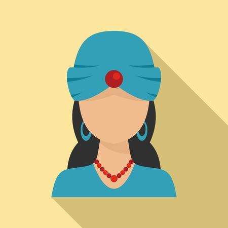 Woman fortune teller icon. Flat illustration of woman fortune teller vector icon for web design