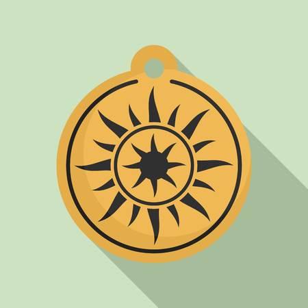 Magic sun medallion icon. Flat illustration of magic sun medallion vector icon for web design