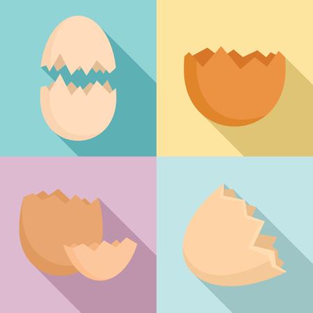 Ensemble d'icônes de coquille d'oeuf, style plat Vecteurs