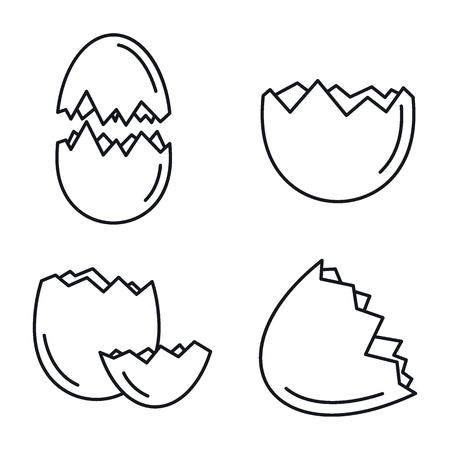 Ensemble d'icônes de coquille d'oeuf cassé, style de contour